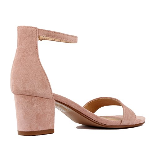 Guilty Shoes Womens Ankle Strap Single Band Sandals - Low Chunky Block Comfortable Office Heeled Sandals Pink Suede