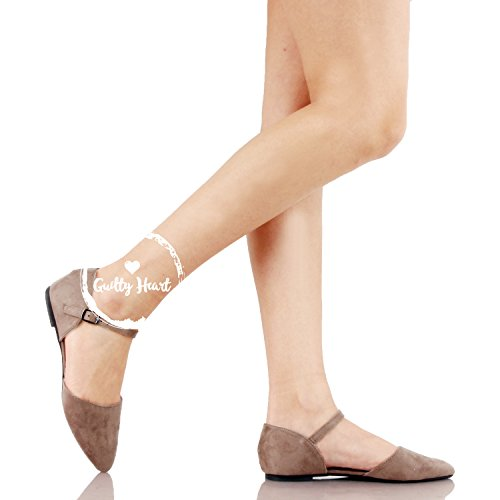 Guilty Heart Womens D'Orsay Ankle Strap Almond Pointed Toe Comfortable Suede Flats Stone Suede