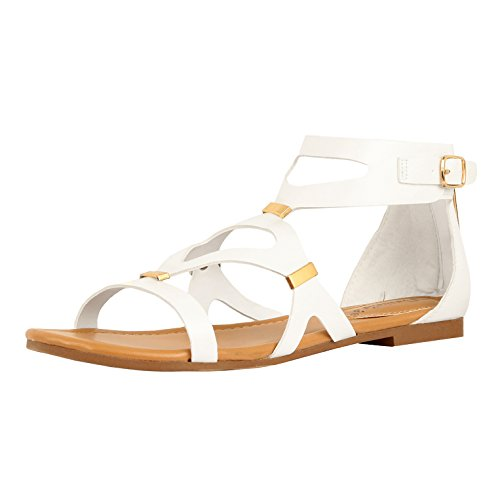 Guilty Heart Womens Summer Gladiator Strappy Buckle Comfortable Ankle Strap Flat Sandals White PU