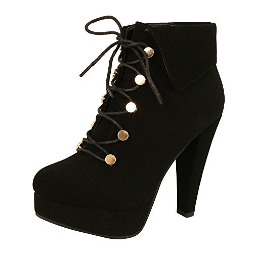 Guilty Heart - Button High Heel Stiletto Fold Over Platform Ankle Bootie Boots (Previously Guilty Shoes)
