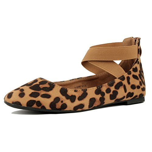 Guilty Shoes Women's Classic Ballerina Flats - Elastic Crossing Straps - Comfort Stretchy Ballet-Flats Leopard Suede