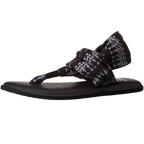 Sanuk Women's Yoga Sling 2 Prints Flip Flop Black Natural Koa Tribal