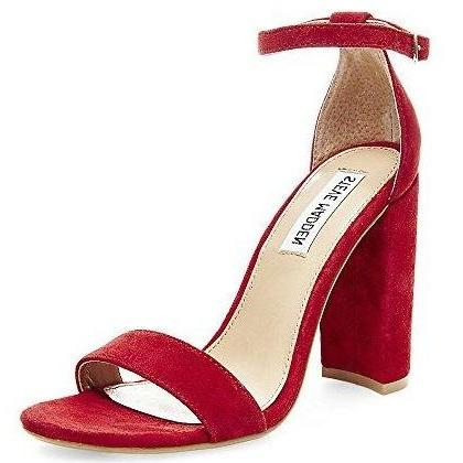Steve Madden Women's Carrson Heeled Sandal Red Suede