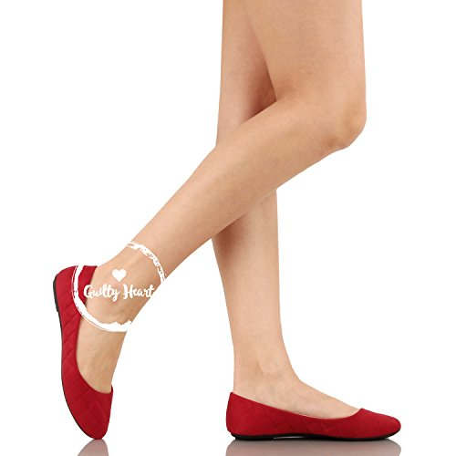 Guilty Shoes Womens Classic - Comfort Pointy Toe Slip On Ballet Flats Shoes Red Suede