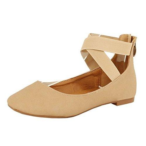 Guilt Yshoes - Women's Classic Ballerina Flats - Elastic Crossing Straps - Comfort Stretchy Ballet-Flats Taupe Nubuck