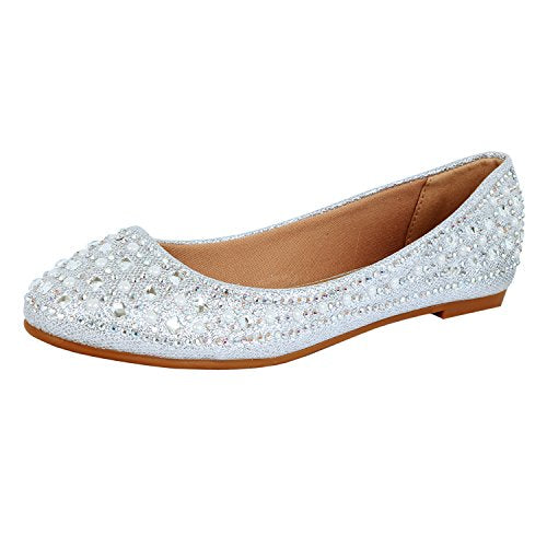 Guilty Heart Princess Classic Slip On Ballerina Ballet Flats Flats Silver Square