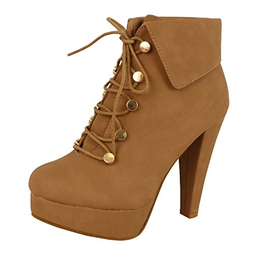 Guilty Heart -  Sexy Fashion Lace up - Button High Heel Stiletto Fold Over Platform  (Previously Guilty Shoes)