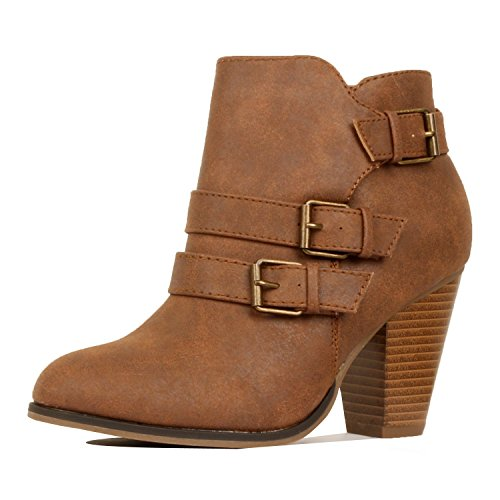 Guilty Heart Womens Strappy Chunky Block Heel Buckle Ankle Bootie Boots Ankle & Bootie Tan
