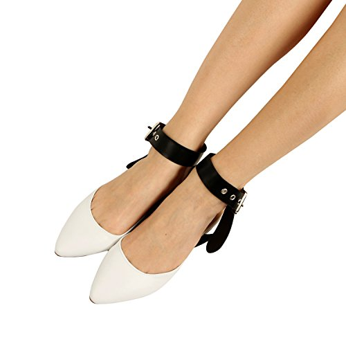 Guilty Heart Women Bow Knotted Flat Mule - Pointy Toe Slip On Slide Mules & Clogs White Pu