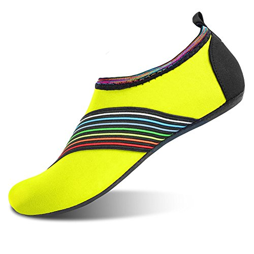 Unisex Womens Mens Barefoot Water Shoes Skin Shoes for Dive Surf Swim Beach Yoga Bevel Green