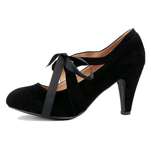 Guilty Heart Womens Vintage Retro Mary Jane Kitten Mid Heel Pump Pumps Pumps Black Suede