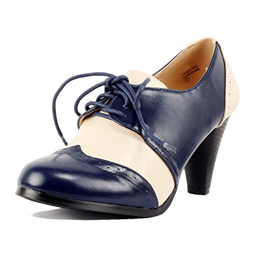 Guilty Shoes Retro Two Tone Embroidery - Wing Tip Lace up - Kitten Heel Classic Pump Oxfords-Shoes Navy White