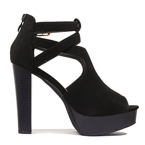 Guilty Shoes Womens Cutout Gladiator Ankle Strap Platform Fashion High Heel Sandals Heeled Sandals Black Pu
