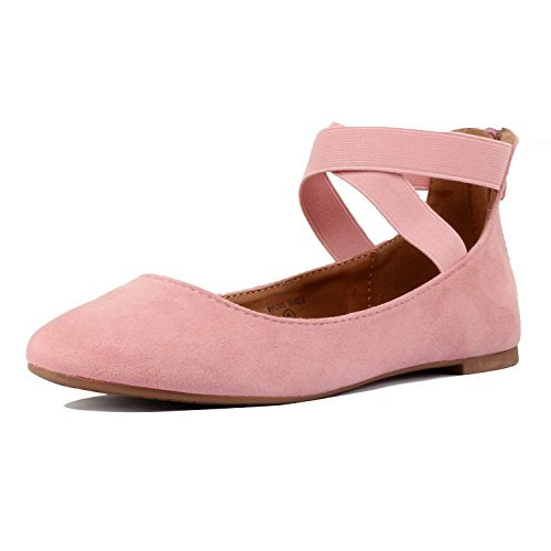 Guilty Shoes Women's Classic Ballerina Flats - Elastic Crossing Straps - Comfort Stretchy Ballet-Flats Mauve Suede