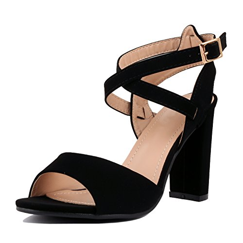 Guilty Heart Womens Comfortable Block Chunky Ankle Strap Strappy Open Toe Mid Heel Sandals Black Pu