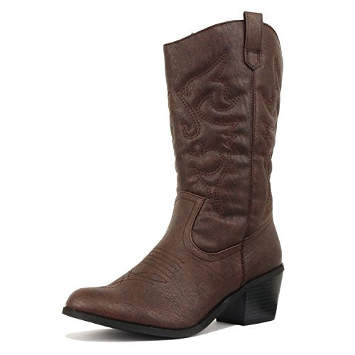 West Blvd Miami Cowboy Western Boots Brown Pu