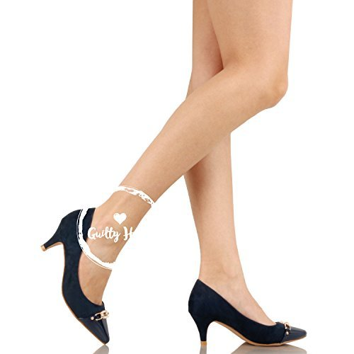 Guilty Shoes Womens Deco Embellished Classic Elegant Closed Pointy Toe Low Kitten Heel Dress Pump Shoes Heeled-Sandals Navy