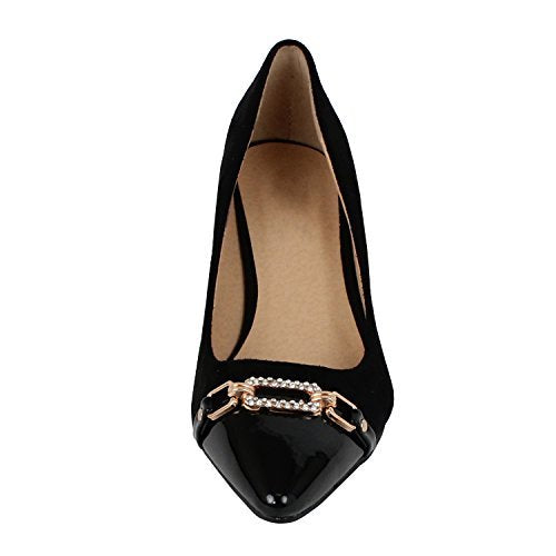 Guilty Shoes Womens Deco Embellished Classic Elegant Closed Pointy Toe Low Kitten Heel Dress Pump Shoes Heeled-Sandals Black