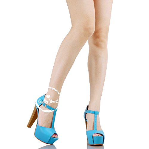 Guilty Heart Womens Peep Toe High Heel Stiletto T-Strap Platform Sexy Sandals Heeled Sandals Blue Pu