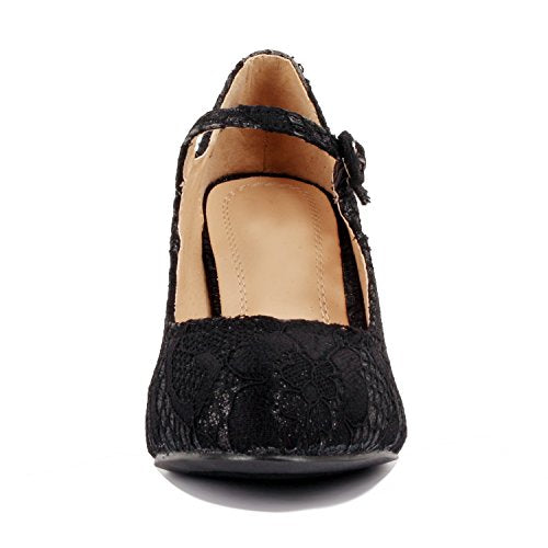 Guilty Heart Womens Retro Round Toe Ankle Strap Low Kitten Heel Mary Jane Dress Pumps Black Lace
