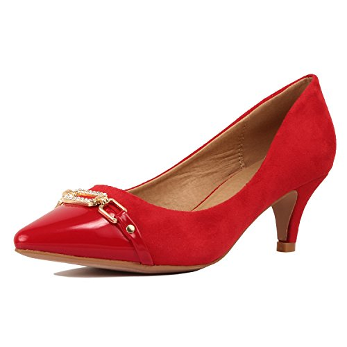 Guilty Shoes Womens Classic - Closed Pointy Toe Low Kitten Heel - Dress Slip On Pump Red