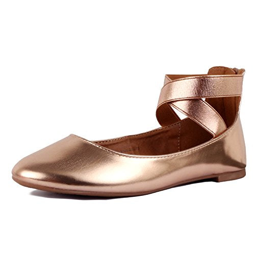 Guilty Shoes Womens Classic Comfort Elastic Crossing Straps - Stretchy Ballerina Ballet Flats Shoes Rose Gold Pu
