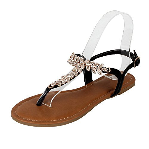 Guilty Heart - Womens Rhinestone Sparkle Sling Back Spring Summer Casual Thong Sandal