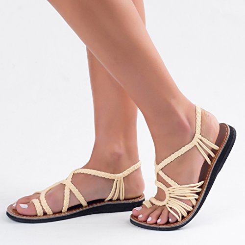 Plaka Flat Summer Sandals for Women by Sweet Ivory Palm Leaf