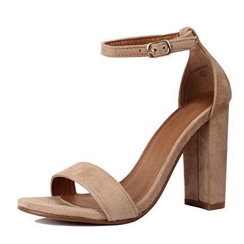 Guilty Shoes Comfort Suede One Band Open Toe Sexy Ankle Strap Buckle Chunky Heel Heeled-Sandals Light Taupe Suede