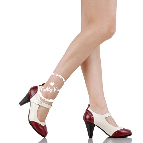 Guilty Shoes Womens Classic Retro Two Tone Embroidery - Wing Tip Lace up Kitten Heel Oxford Pump Pumps Red White