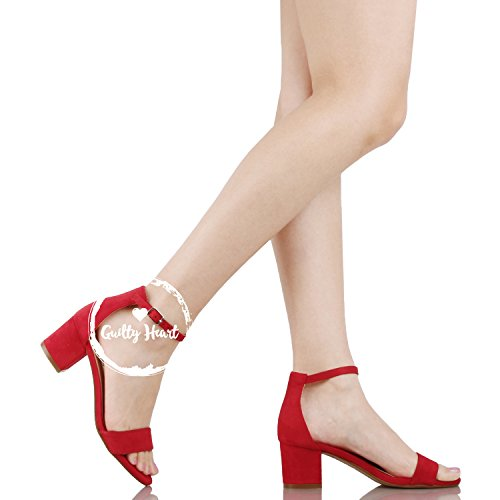 Guilty Shoes Womens Ankle Strap Single Band Sandals - Low Chunky Block Comfortable Office Heeled Sandals Red Suede