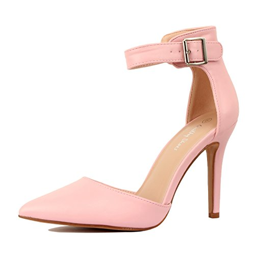 Guilty Heart Womens High Heel Sexy Stiletto Pointed Toe Ankle Buckle Dress Pumps Pink Pu