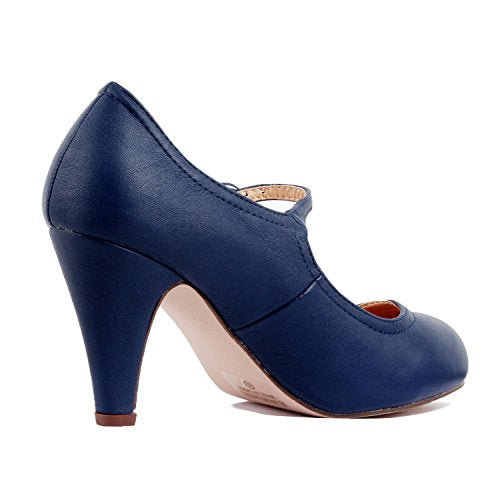 Guilty Heart Womens Retro Round Toe Ankle Strap Low Kitten Heel Mary Jane Dress Pumps Navy Pu
