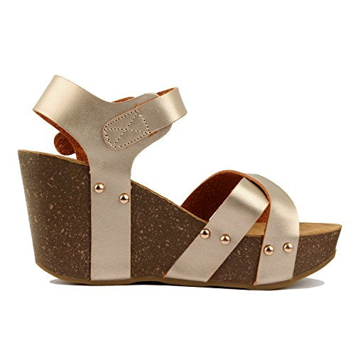 Guilty Heart Womens Cork Comfort Casual Wide Band Sandal Platforms & Wedges Gold Pu