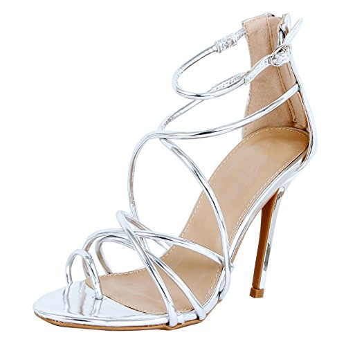 Guilty Heart - Women Sexy Metallic Ankle Strap Zip up Dress - Open Toe Stiletto Sandals Sandals Silver Pu
