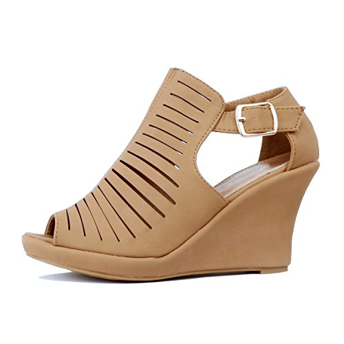 Guilty Shoes Womens Strappy Cut Out Gladiator - Open Toe Platform - Block Chunky Heel Sandals Tan Pu