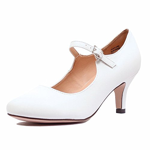 Guilty Heart Womens Classic Mary Jane - Cute Low Kitten Heel Retro Round Closed Toe Pumps Pumps White Pu