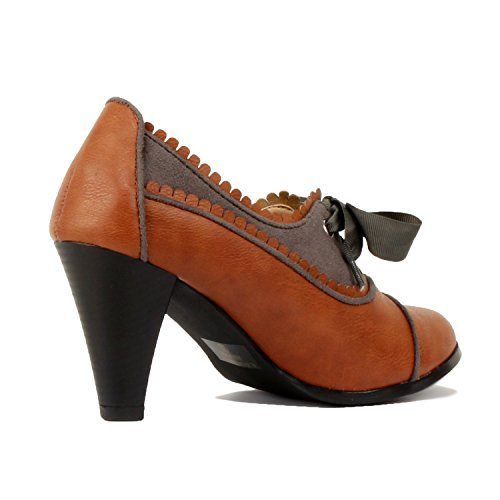 Guilty Shoes Classic Retro Two Tone Embroidery Wing Tip Lace up Kitten Heel Pump Oxfords Shoes Oxfords Cognac Grey