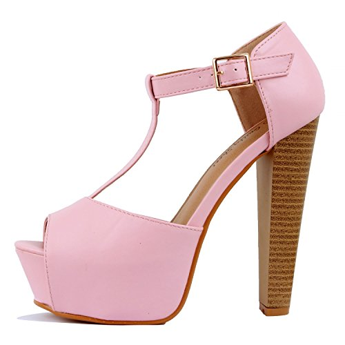 Guilty Heart Womens Peep Toe High Heel Stiletto T-Strap Platform Sexy Sandals Heeled Sandals Pink Pu