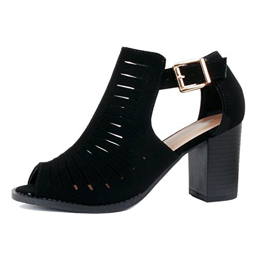 Womens Strappy Cut Out Gladiator Open Toe Platform Chunky Heel Sandal Bootie Sandals Black Pu