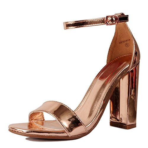 Guilty Shoes Womens Comfort High Heel Sandal - One Band Open Toe Ankle Strap Sexy Dress Chunky Block Heel - Stiletto Sandals Rose Gold Pu