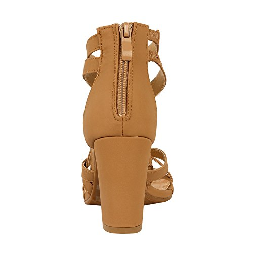 Guilty Heart Womens Sexy Versatile Strappy Platform Stiletto Block Heel Ankle Strap Sandal Heeled Sandals Tan Pu