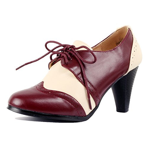 Guilty Shoes Retro Two Tone Embroidery - Wing Tip Lace up - Kitten Heel Classic Pump Oxfords-Shoes Burgundy White