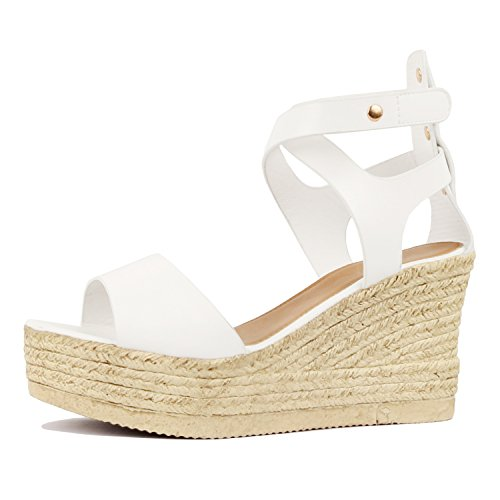 Guilty Heart Womens Casual Comfortable Braided Bottom Platofrm Open Toe Summer Wedge Sandal Platforms & Wedges White Pu