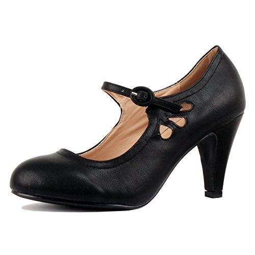 Guilty Heart Womens Vintage Retro Mary Jane Kitten Mid Heel Pump Pumps Black Pu