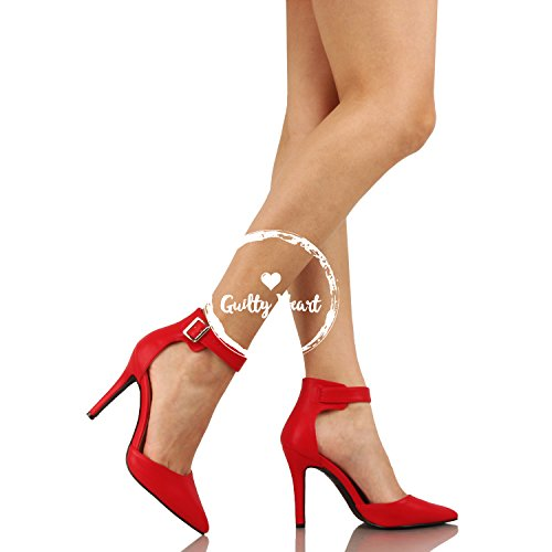 Guilty Heart Womens High Heel Sexy Stiletto Pointed Toe Ankle Buckle Dress Pumps Red Pu