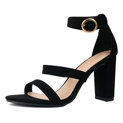 Guilty Heart Womens Sexy Versatile Strappy Platform Stiletto Block Heel Ankle Strap Sandal Heeled Sandals Heeled Sandals Black Pu
