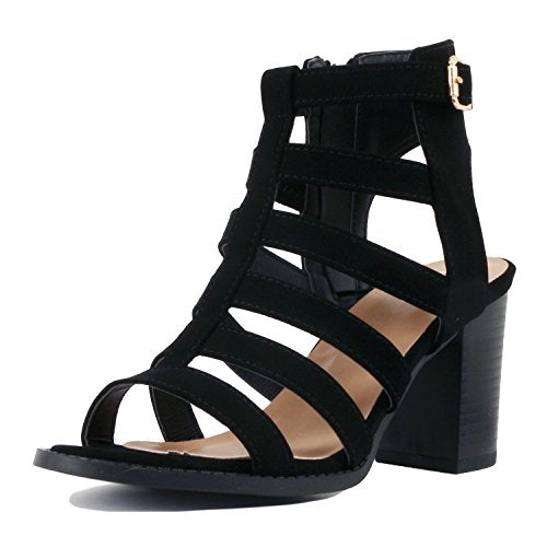Guilty Shoes Womens Strappy Cut Out Gladiator - Open Toe Platform - Block Chunky Heeled Sandal, Black Pu