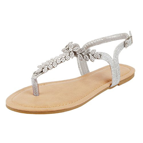 Guilty Heart Womens Rhinestone Sparkle Sling Back Spring Summer Casual Thong Sandal Flats Silver Pu
