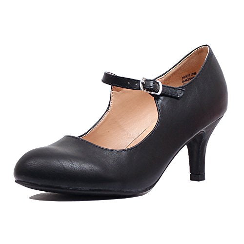 Guilty Heart Classic Mary Jane - Vintage Cute Low Kitten Heel - Round Closed Toe - Elegant Pumps-Shoes Pumps Pumps Black Pu